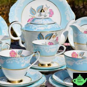 ROYAL IMPERIAL DUCK EGG FLORAL TEA SET