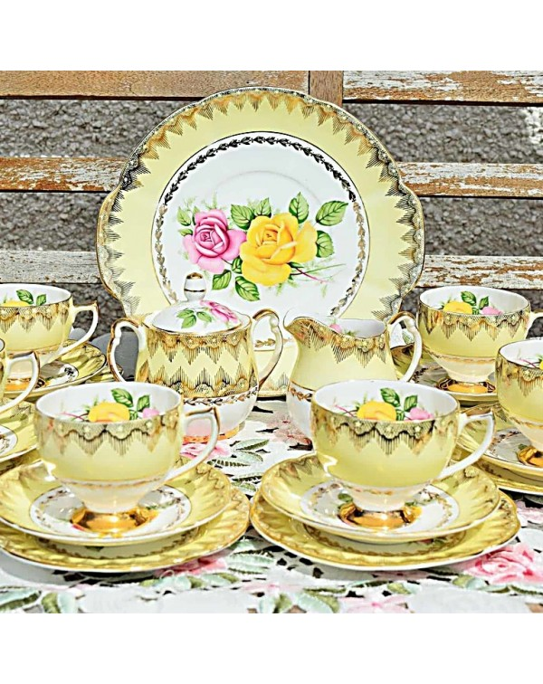 (OUT OF STOCK) IMPERIAL CHINA YELLOW ROSE TEA SET