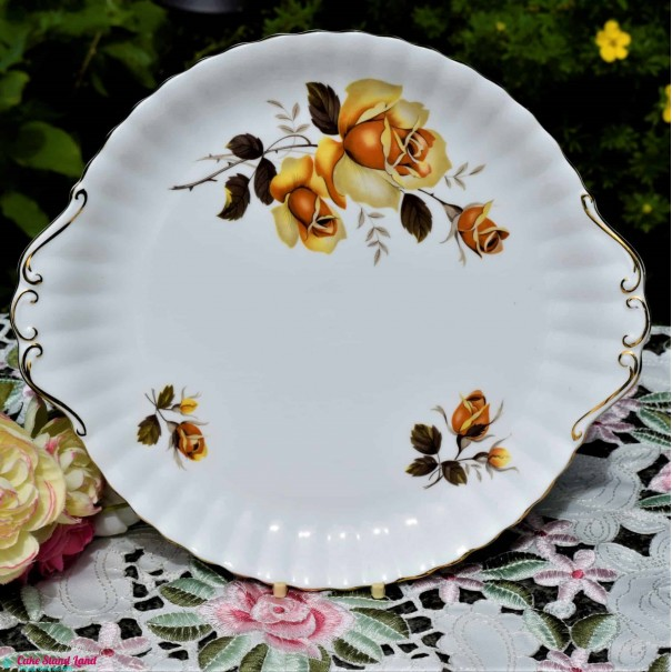 ROYAL IMPERIAL YELLOW ROSE CAKE PLATE