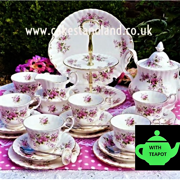 (SOLD) ROYAL ALBERT LAVENDER ROSE TEA SET & CAKE STAND