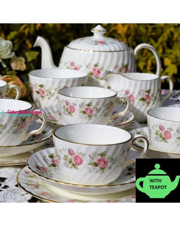 (SOLD) MINTON SPRING BOUQUET TEA SET & TEAPOT