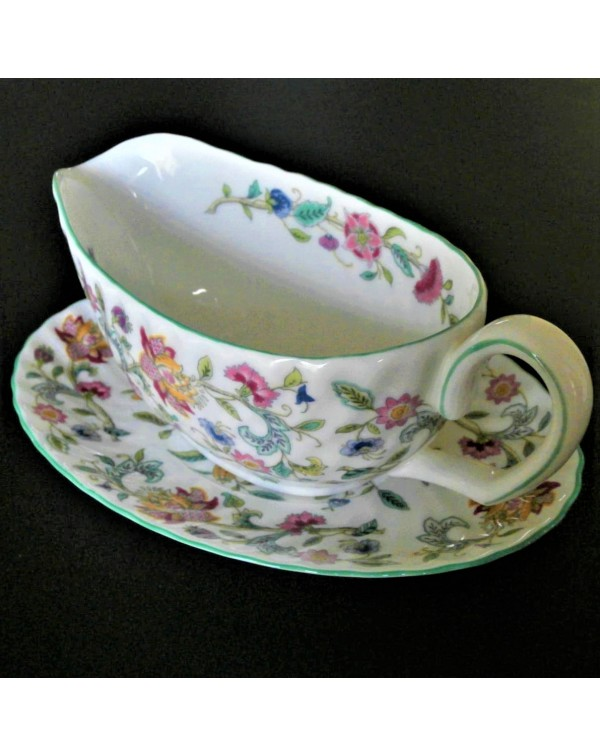 (SOLD) MINTON HADDON HALL SAUCE BOAT AND STAND