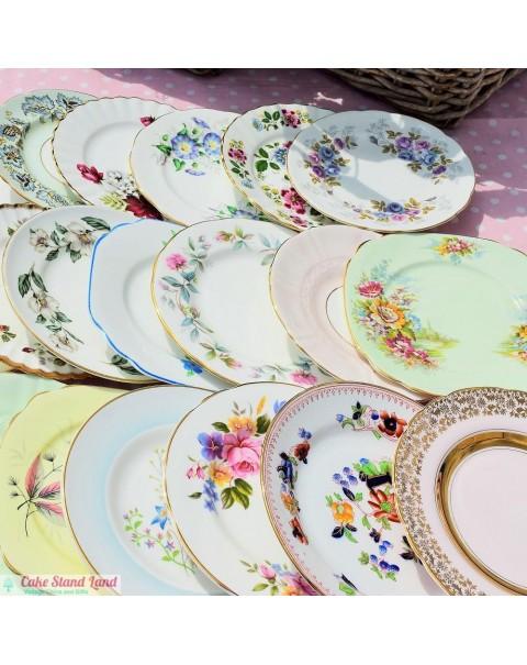 50 MISMATCHED VINTAGE TEA PLATES