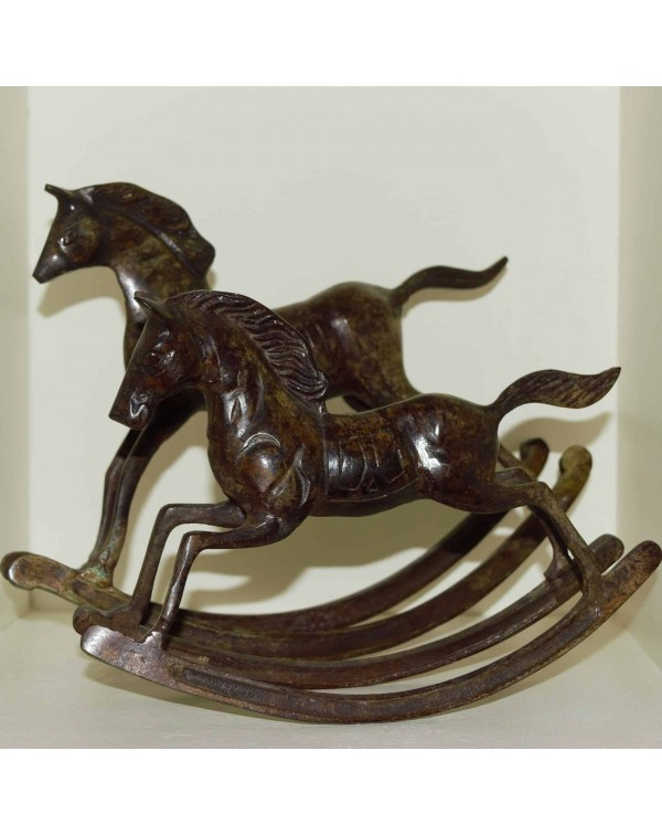 PAIR OF BRONZE EFFECT METAL ROCKING HORSES
