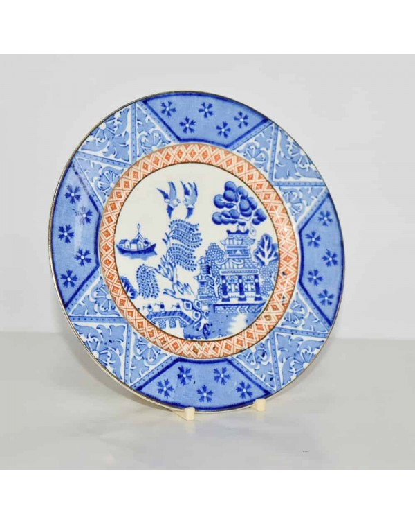 BLUE AND WHITE WILLOW PATTERN TEA PLATE