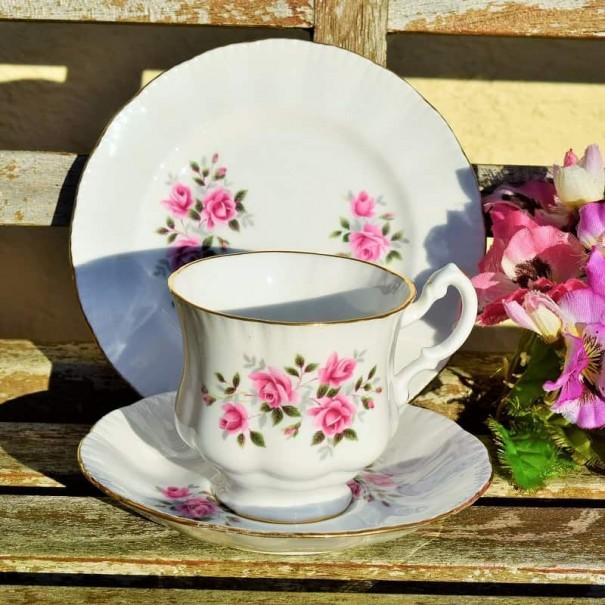 (SOLD) ROSE TEA TRIO