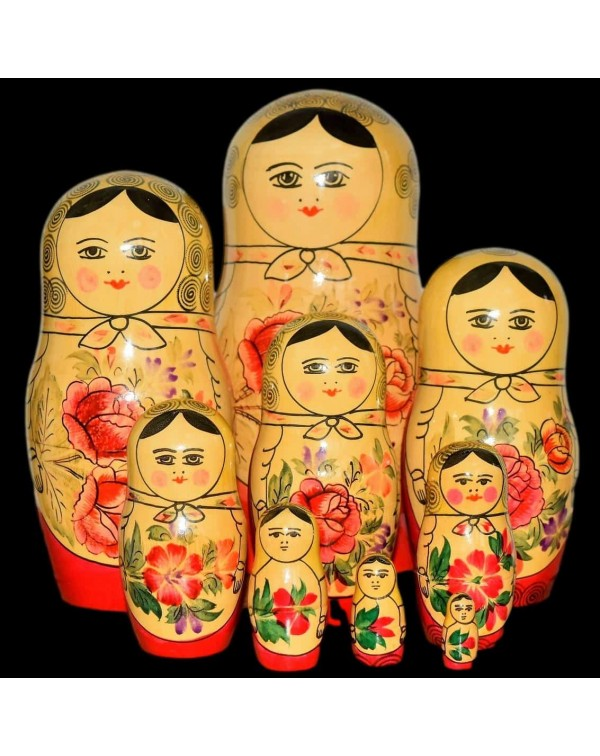 9 VINTAGE RUSSIAN DOLLS