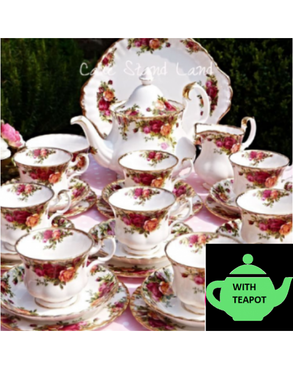 (SOLD) COMPLETE OLD COUNTRY ROSES TEA SET FOR 8