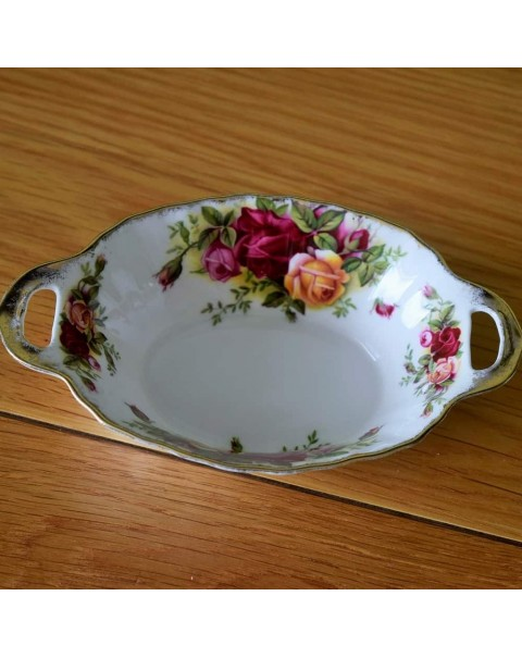 OLD COUNTRY ROSES HANDLED TRINKET DISH