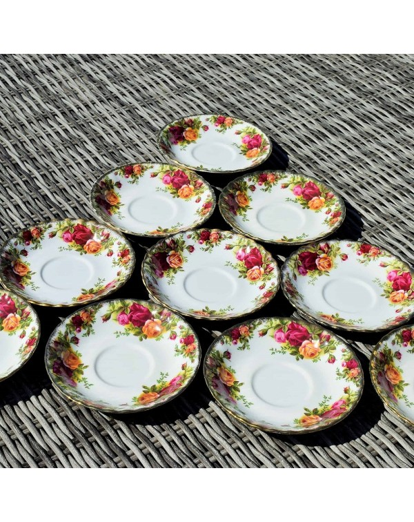 ROYAL ALBERT OLD COUNTRY ROSES 10 SAUCERS