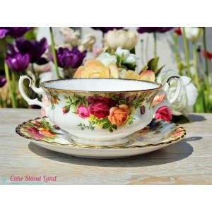 OLD COUNTRY ROSES SOUP COUPE AND SAUCER b