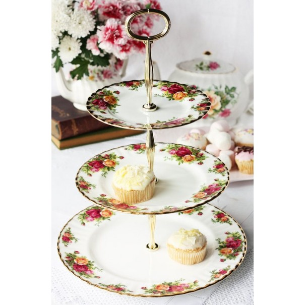 OLD COUNTRY ROSES CAKE STAND