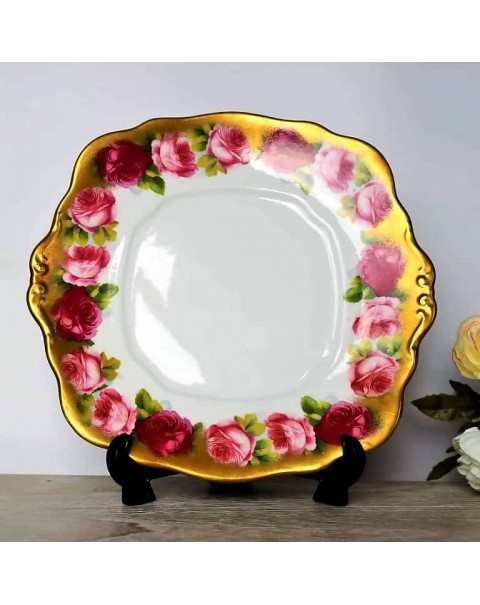 (OUT OF STOCK) ROYAL ALBERT OLD ENGLISH ROSE CAKE PLATE