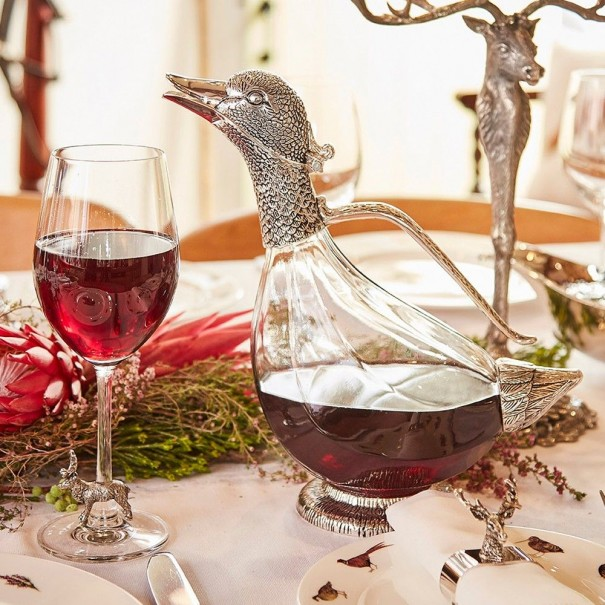 SILVER PLATED DUCK DECANTER
