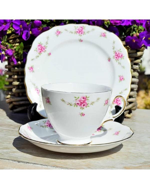ROYAL OSBORNE PINK ROSE TEA TRIO