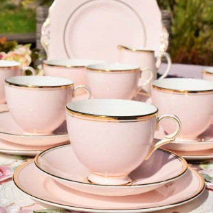 CANDY PINK ENGLISH VINTAGE TEA SET
