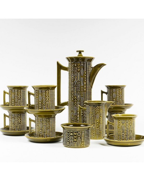 PORTMEIRION GREEN CYPHER COFFEE SET