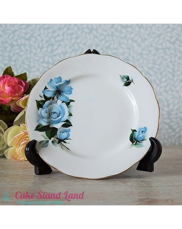 QUEEN ANNE BLUE ROSE TEA PLATE
