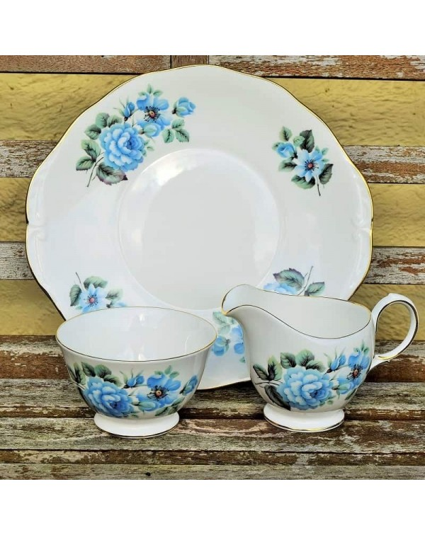 QUEEN ANNE BLUE FLORAL CAKE PLATE
