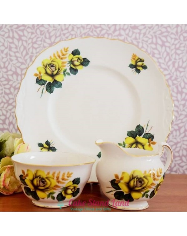 QUEEN ANNE YELLOW ROSE CAKE PLATE SET