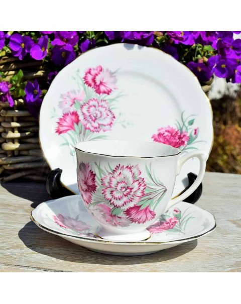 (OUT OF STOCK) QUEEN ANNE CARNATION TEA TRIO