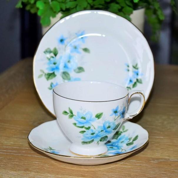 (SOLD) QUEEN ANNE BLUE ROSE TEA TRIO