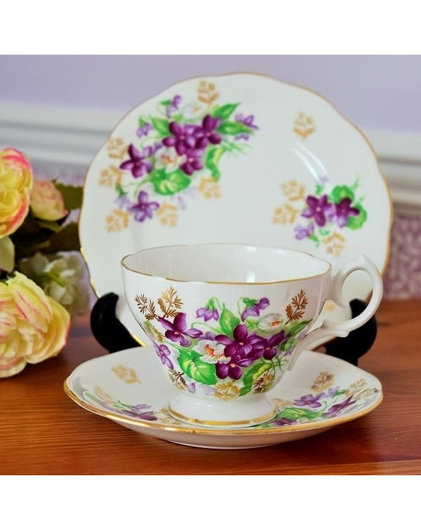 (OUT OF STOCK) QUEEN ANNE PURPLE FLOWER TRIO