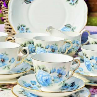 QUEEN ANNE BLUE ROSE TEA SET