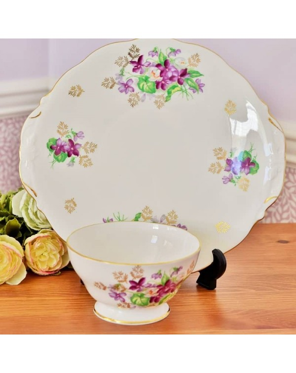 QUEEN ANNE PURPLE FLOWER CAKE PLATE SET