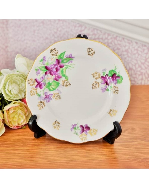 QUEEN ANNE PURPLE FLOWER TEA PLATE