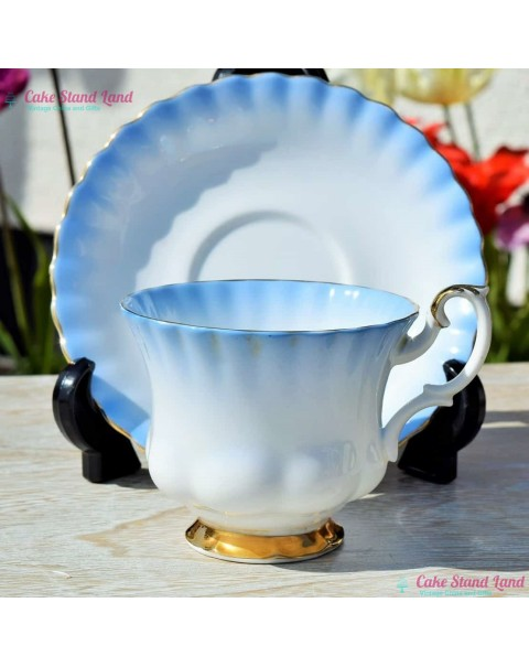 (OUT OF STOCK) ROYAL ALBERT RAINBOW TEA CUP & SAUCER BLUE