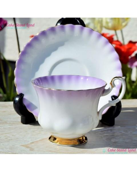 (OUT OF STOCK) ROYAL ALBERT RAINBOW TEA CUP & SAUCER PURPLE