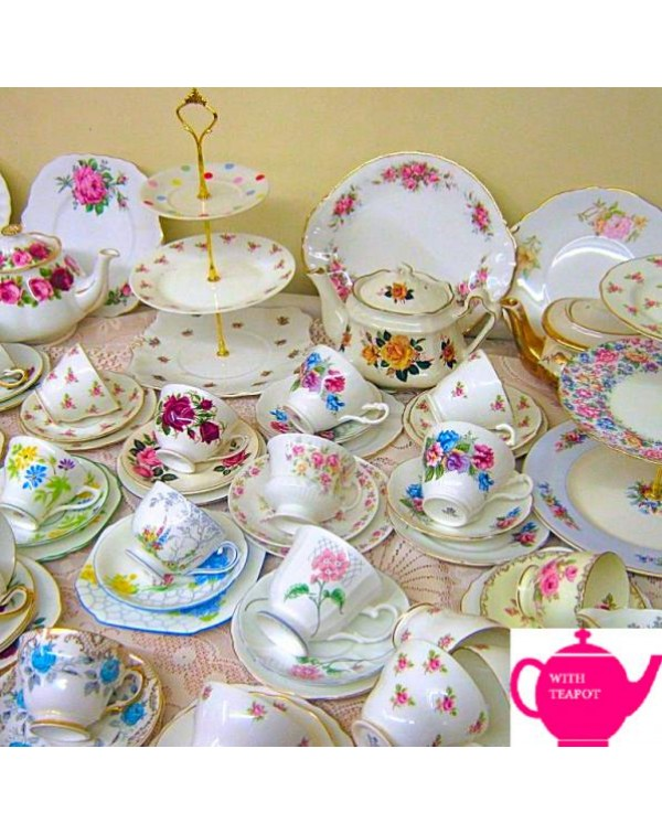 COMPLETE TEA SET FOR 12 WITH 2 TEAPOTS