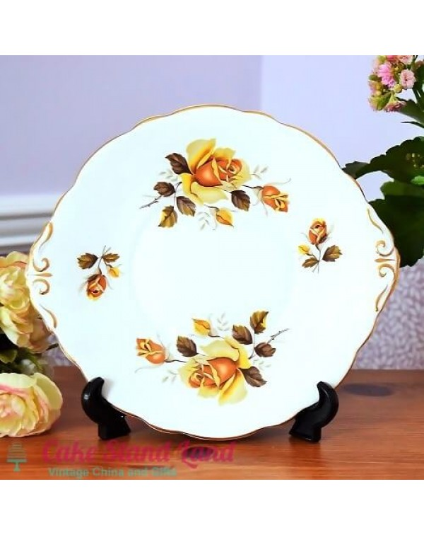 (OUT OF STOCK) REGENCY YELLOW ROSES CAKE PLATE