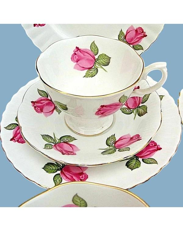 RICHMOND CHINA PINK ROSE TEA TRIO