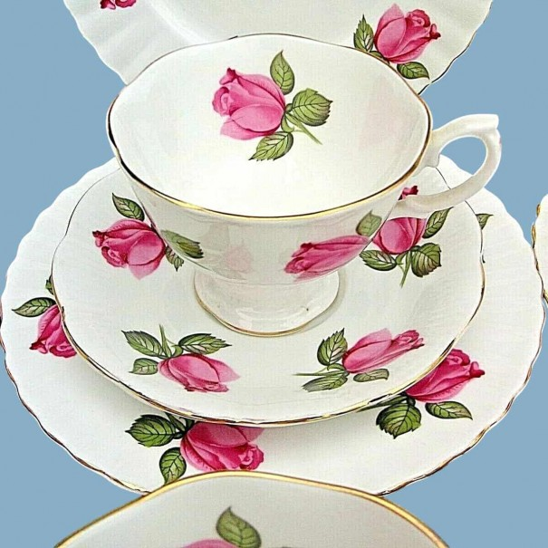 (OUT OF STOCK) RICHMOND CHINA PINK ROSE TEA TRIO