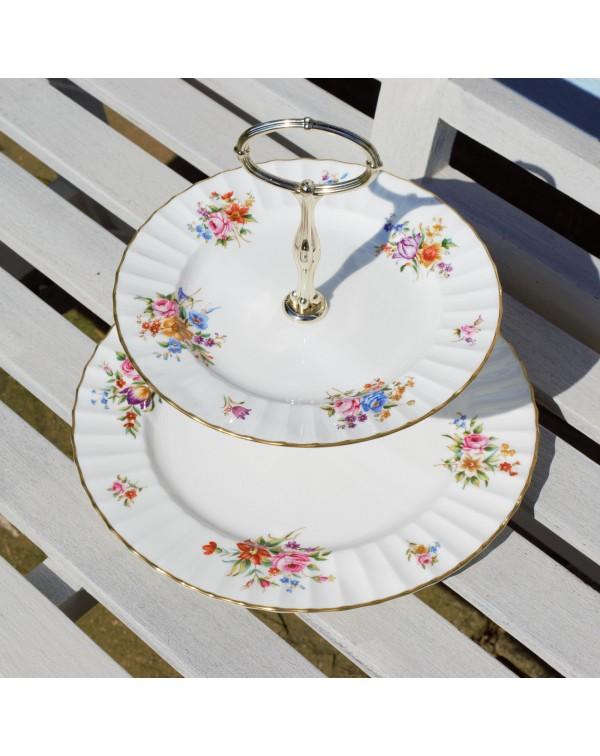 ROYAL WORCESTER ROANOKE TWO TIER CAKE STAND