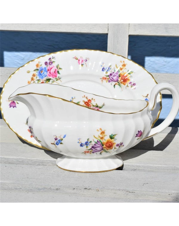 ROYAL WORCESTER ROANOKE SAUCE BOAT & STAND
