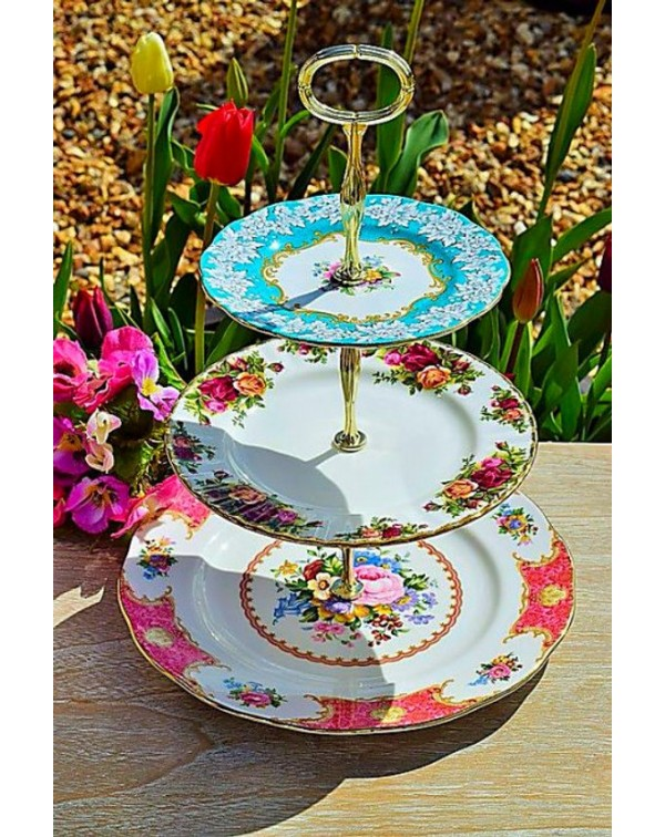 (OUT OF STOCK) ROYAL ALBERT MISMATCHED CAKE STAND