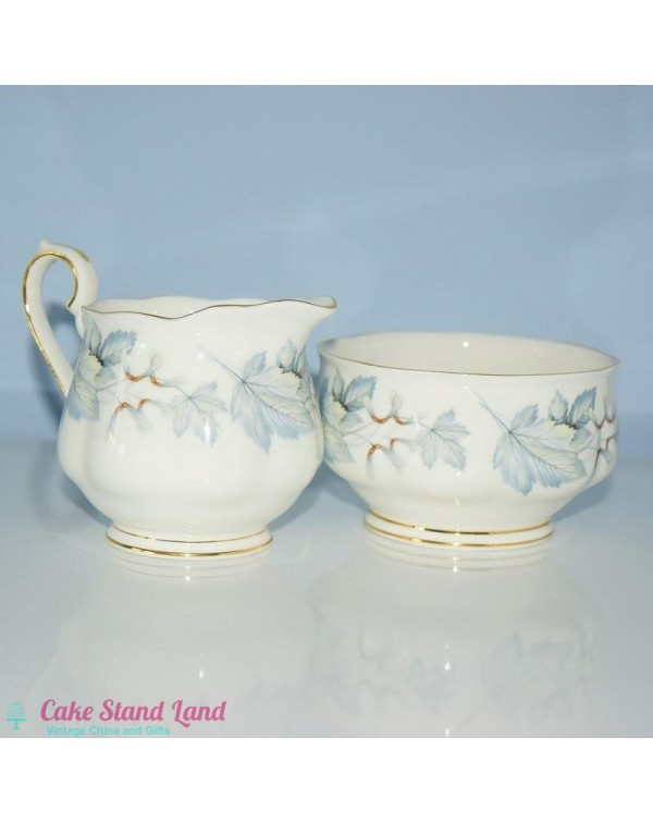 ROYAL ALBERT SILVER MAPLE MILK JUG & SUGAR BOW...