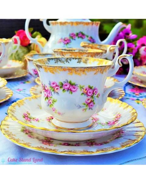 (OUT OF STOCK) ROYAL ALBERT DIMITY ROSE TEA SET WITH TEAPOT