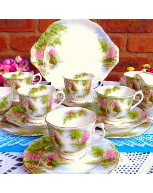 (SOLD) ROYAL ALBERT THE OLD MILL TEA SET