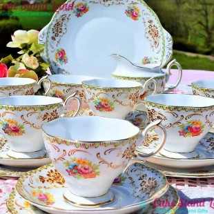 ROYAL ALBERT DAMASK TEA SET