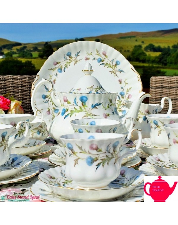 ROYAL ALBERT BRIGADOON TEA SET WITH TEAPOT