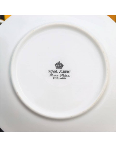 ROYAL ALBERT HARLEQUIN COFFEE CANS AND SAUCERS