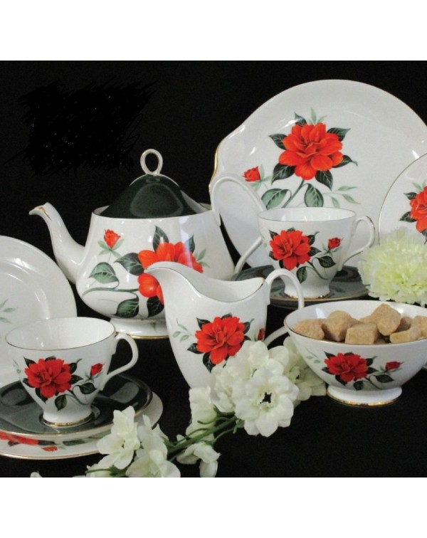 ROYAL ALBERT TAHITI TEA SET WITH TEAPOT