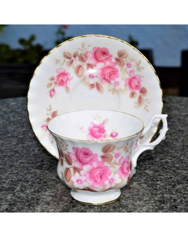 ROYAL ALBERT PINK ROSE TEA CUP AND SAUCER