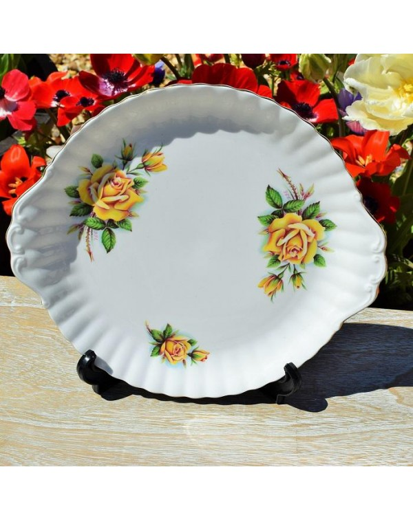 (OUT OF STOCK) ROYAL ALBERT YELLOW ROSE CAKE PLATE