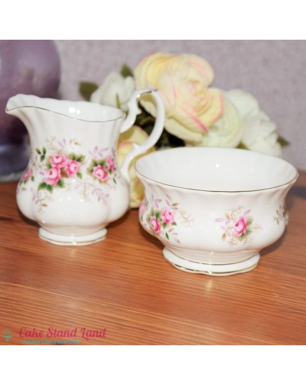 ROYAL ALBERT LAVENDER ROSE CREAMER & SUGAR BOW...