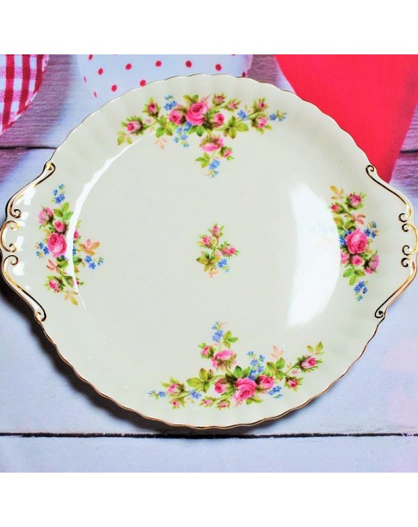 (OUT OF STOCK) ROYAL ALBERT MOSS ROSE CAKE PLATE
